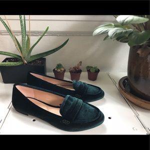 Dark Green Velvet Loafers-never worn